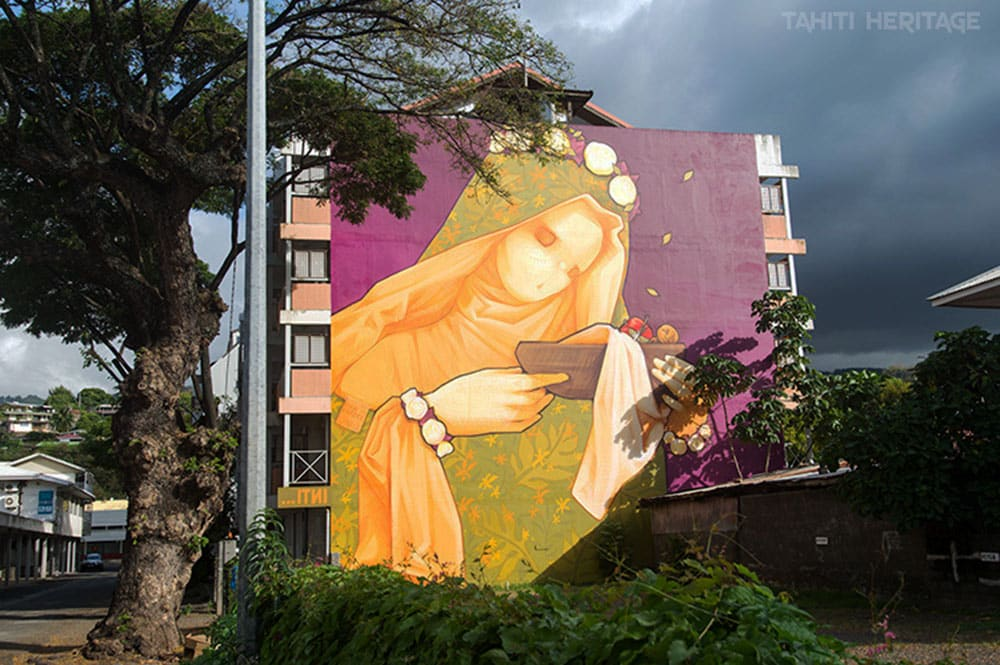 Virgen made in France, Street Art de Inti. Paofai, Papeete, 2014. Photo Tahiti Heritage