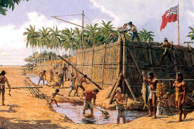 Fort George à Tubuai. Illustration Herb Kane