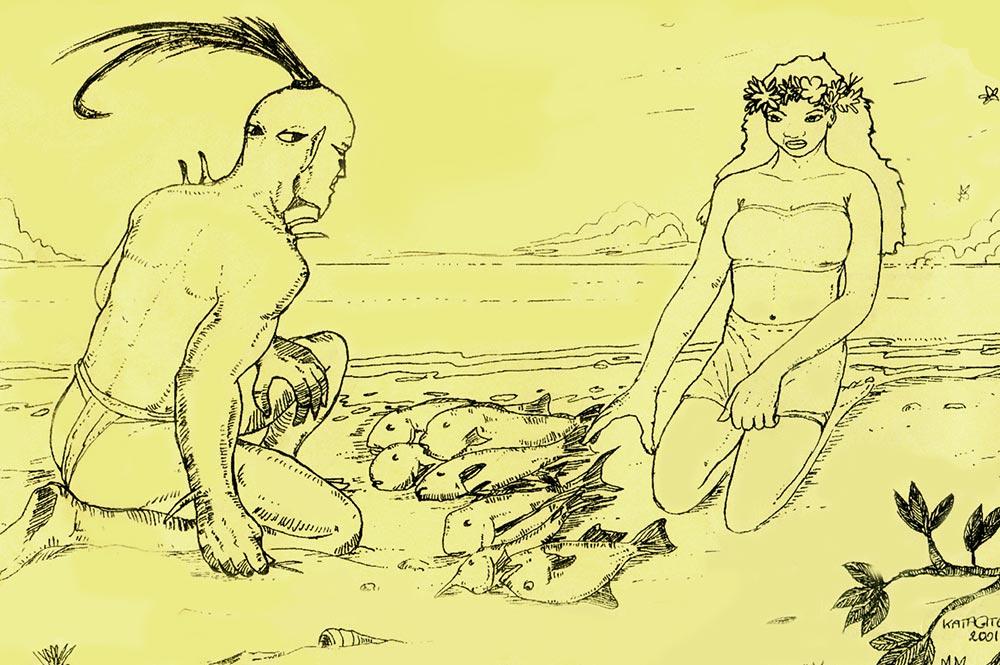 Tuohea, le roi aux quatre yeux de Hao. Illustration Daniel Akeou 2001