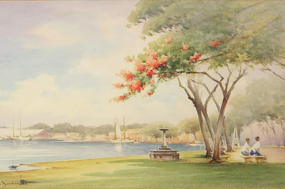 Le front de mer de Papeete en 1932. Aquarelle de Alister Macdonald