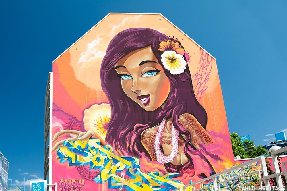 Street art, la vahine au yeux bleus de Soten et Sofles