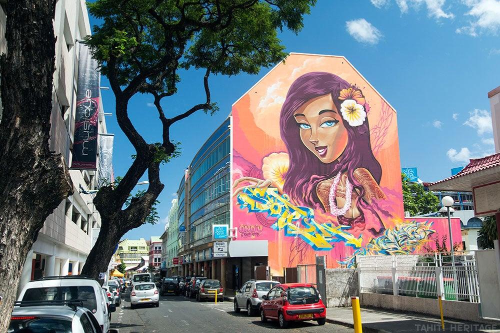 Street art, la vahine au yeux bleus de Soten et Sofles Photo Tahiti Heritage