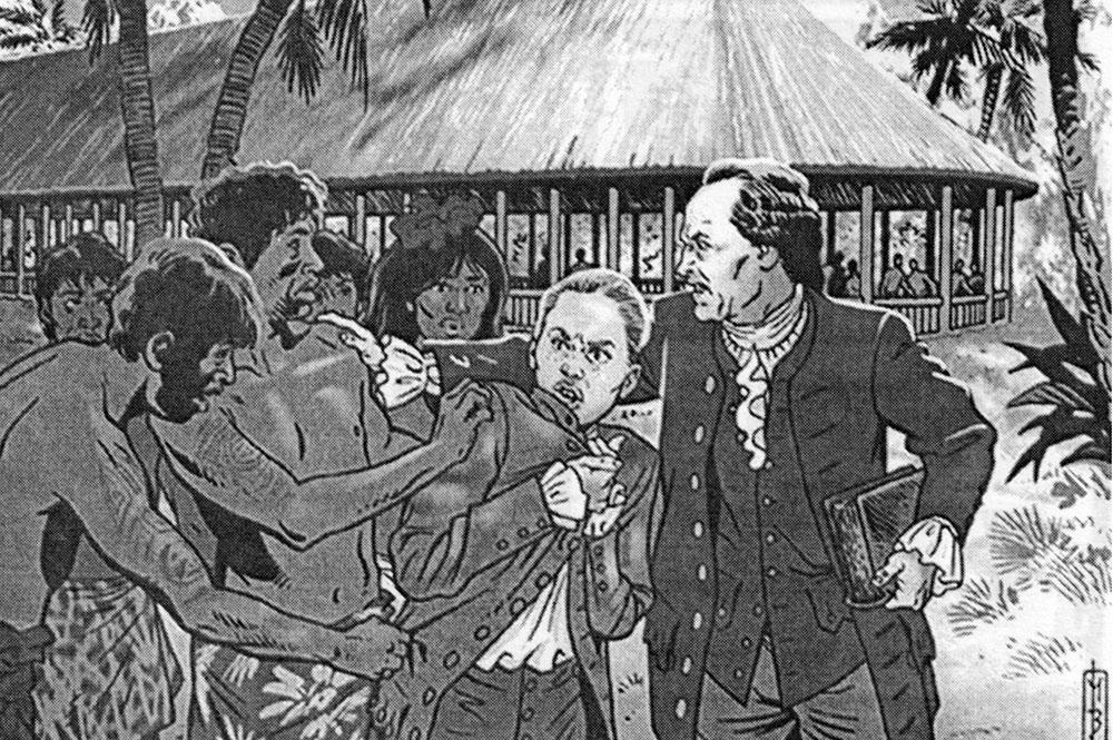 Jeanne Baret et Commerson, arrivent à Tahiti. Illust. Marc Bourgne / Cols bleus