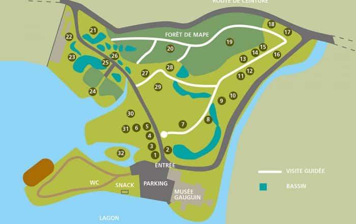 Plan du parcours du jardin botanique de Papeari, Tahiti
