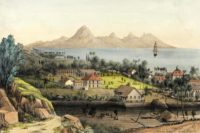 Papeete avec l'île de Moorea au loin, vue de la station de sémaphore.1848. Lithographie de Shipley Conway