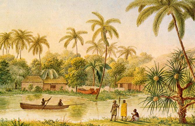 Village of Matavae, Tahiti, illustration from ''Voyage autour du Monde sur la Corvette Coquille