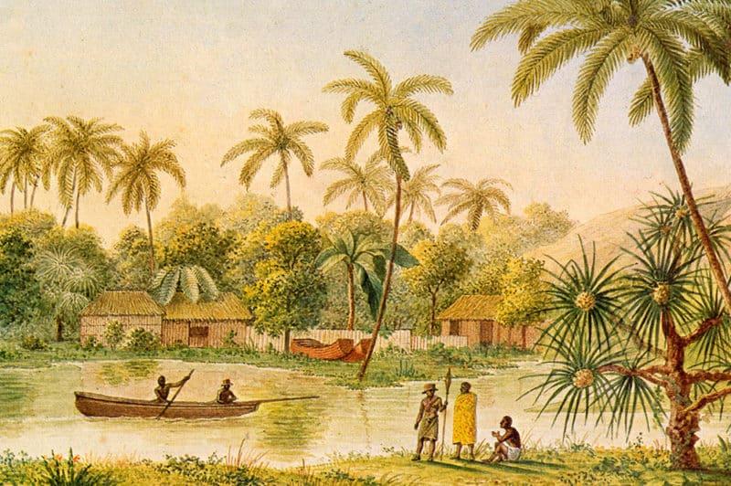 GVillage of Matavae, Tahiti, illustration from ''Voyage autour du Monde sur la Corvette Coquille