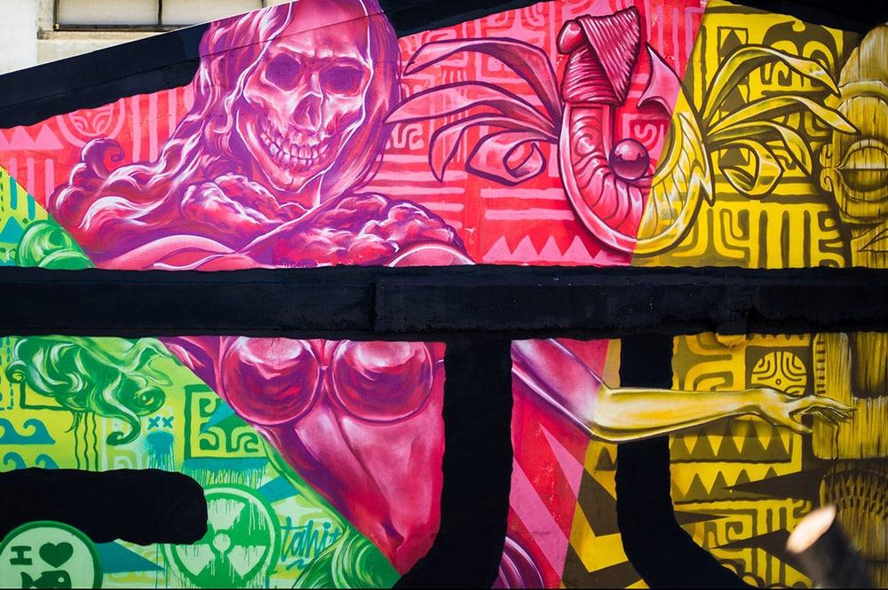 Détail de la fresque de Abuz, HTJ et Jops du marché de Papeete