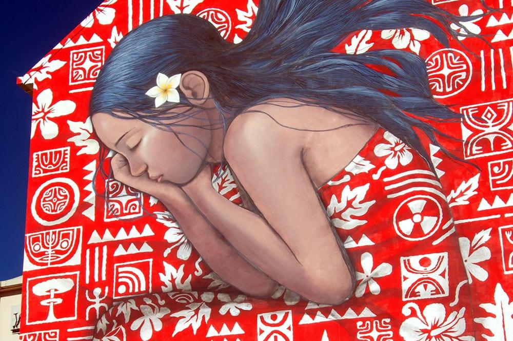 Street art, la tahitienne rouge par Seth et HTJ. Photo Tahiti Heritage