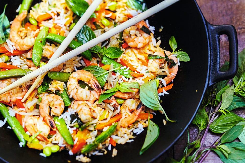 Riz aux crevettes et basilic