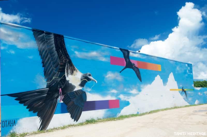 Street-art, oiseau otaha de Charles janine-Williams-onou-2017