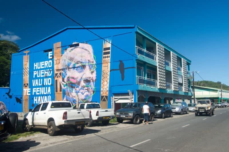 Street Art, portrait du navigateur Viliamu Tupaia par Askew, Raiatea