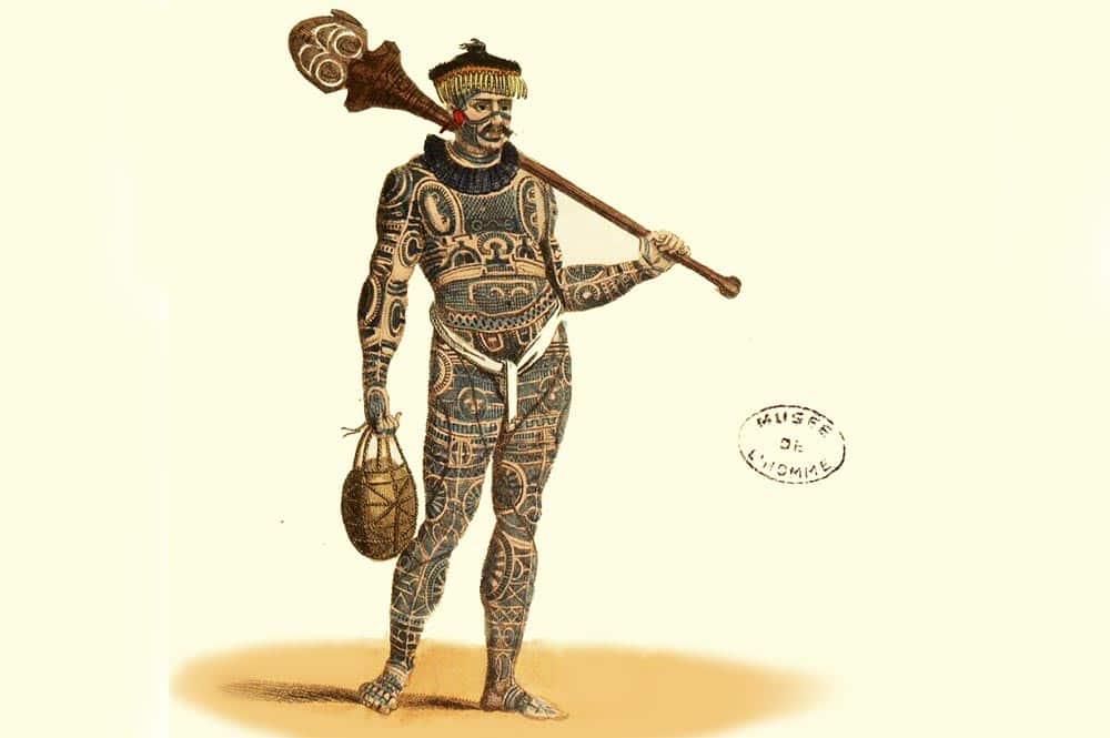 Marquisien entièrement tatoué. Estampes de jules Verreaux. Musée de l'homme