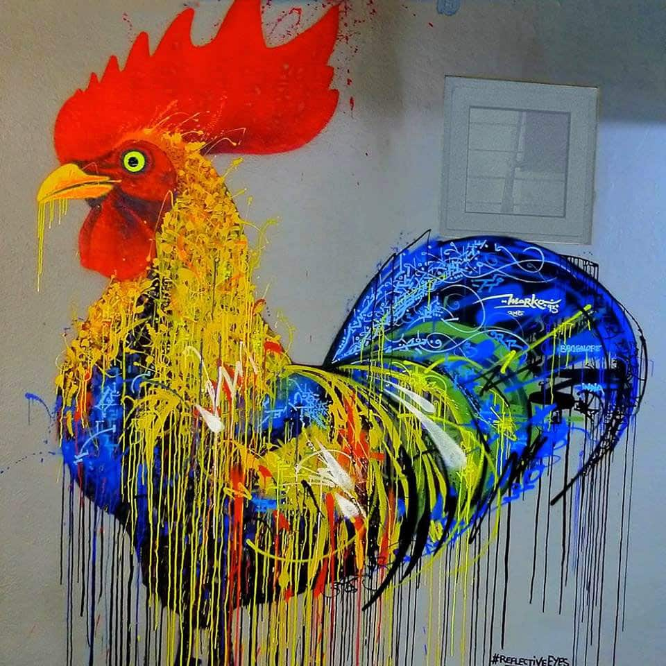 Street art, Coq par Marko93, India 2015.