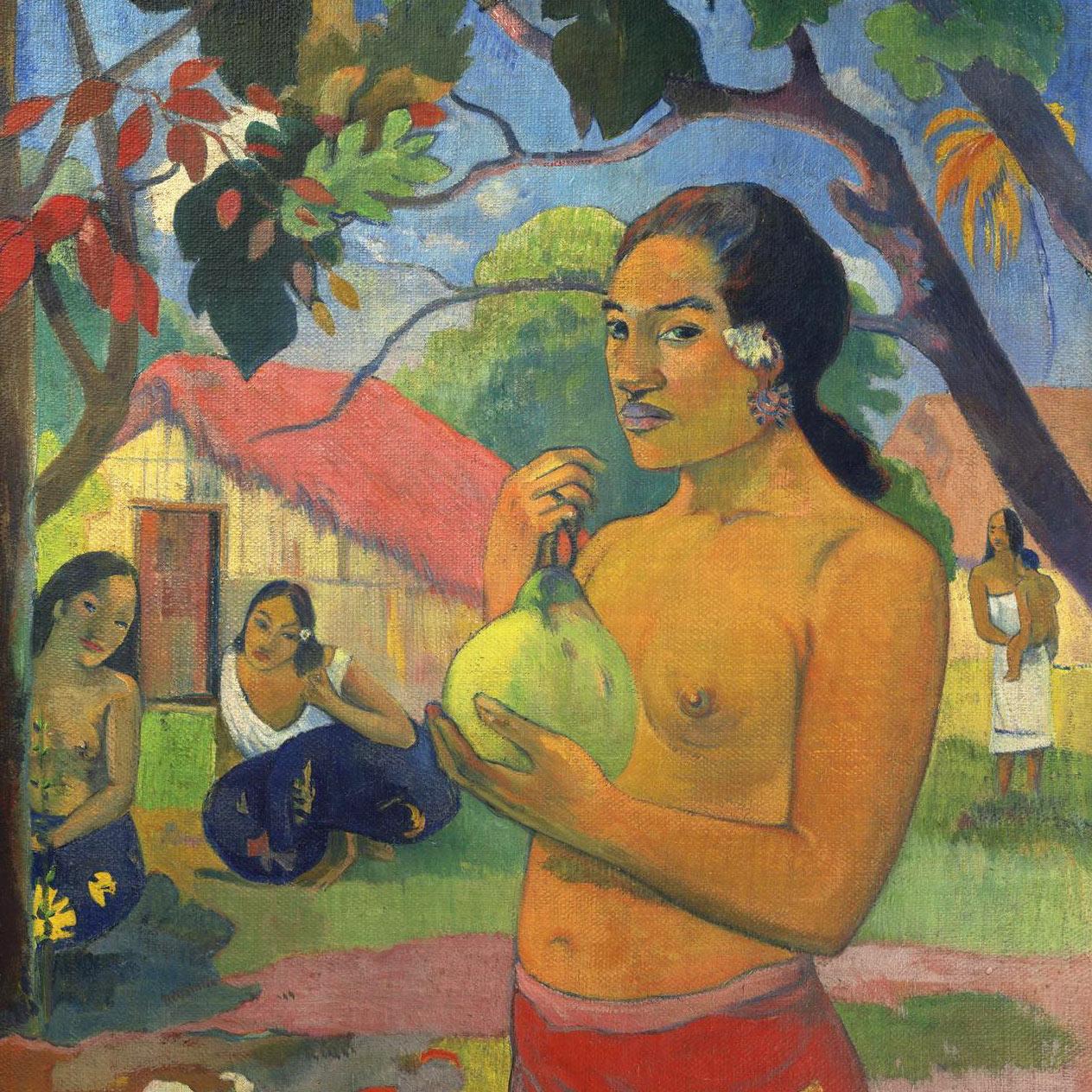 Paul Gauguin La femme au fruit. Eu haere ia oe (Où vas-tu?) 1893. Musée de l'Ermitage