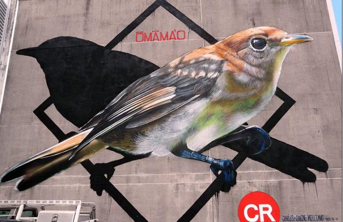 Street art, le monarque de Tahiti chez Yune tune à Papeete.