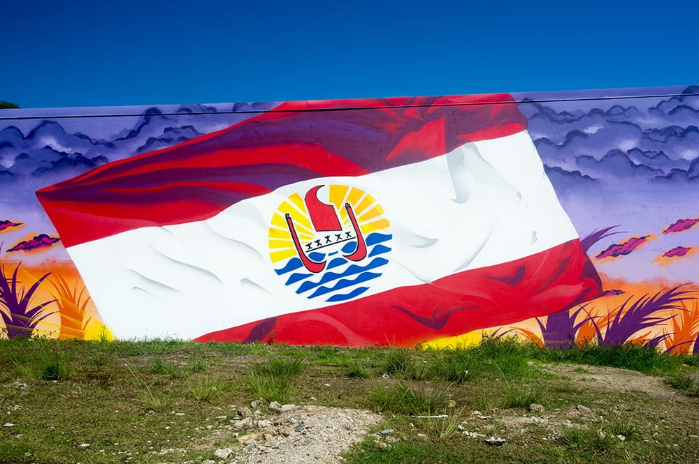 Street art, le drapeau polynésien de Soten à Raiatea