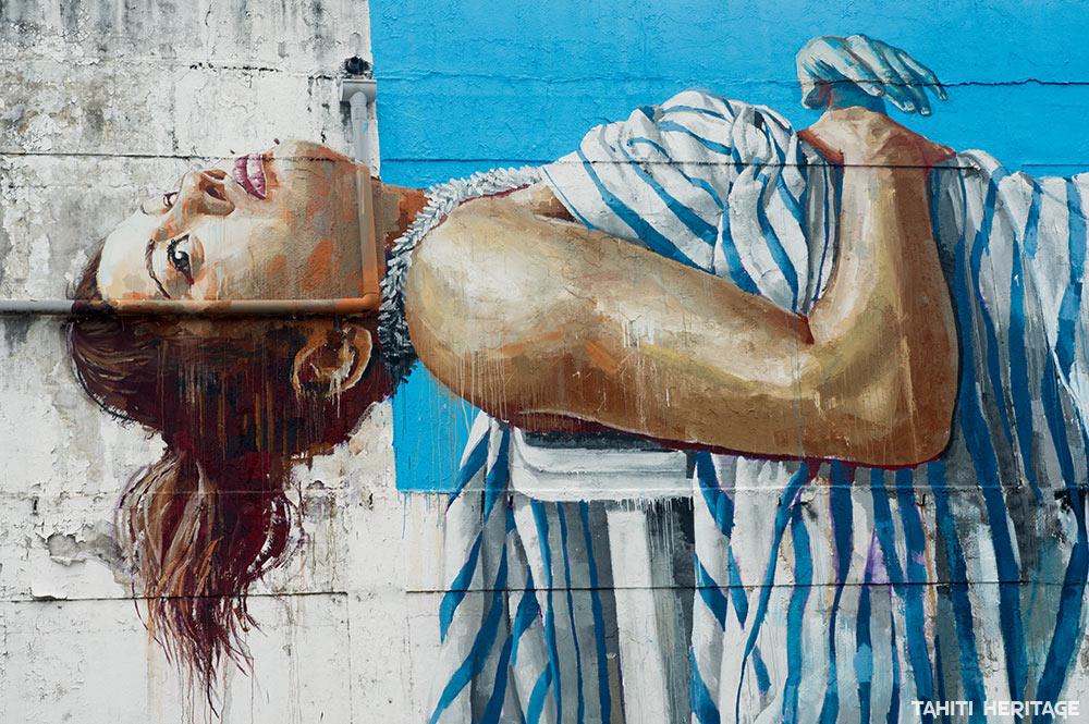 Street Art, la polynésienne de Fintan Magee, à Uturoa