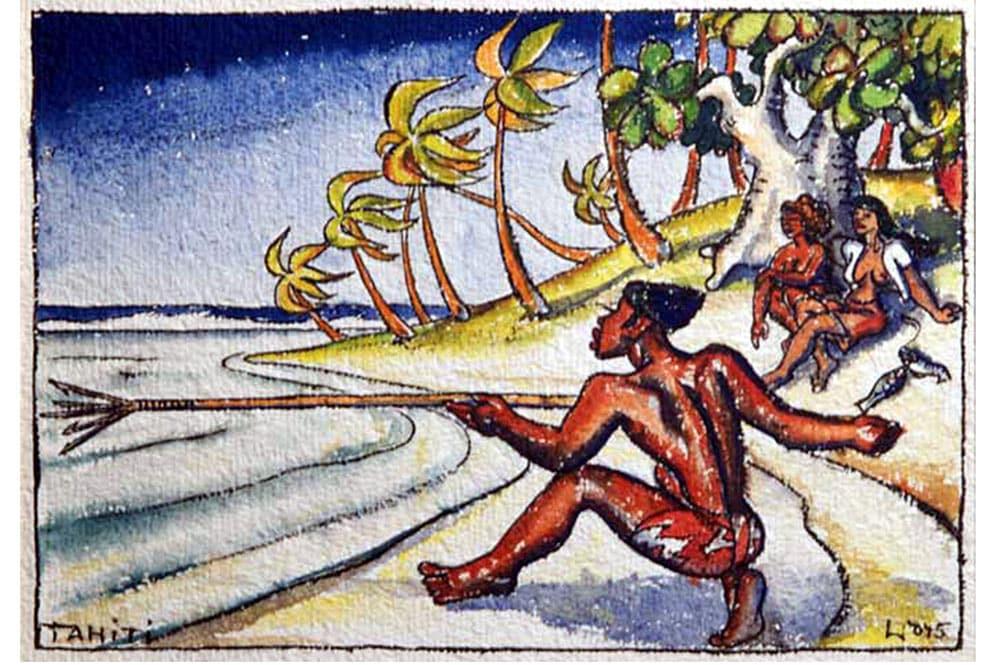Wolff Wolfgang, Pêcheur au harpon, Tahiti vers 1936