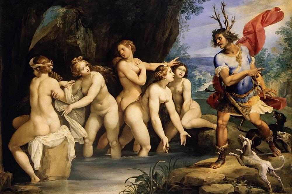 Tableau de Giuseppe Cesari : Actéon transformé en cerf par Artemis.