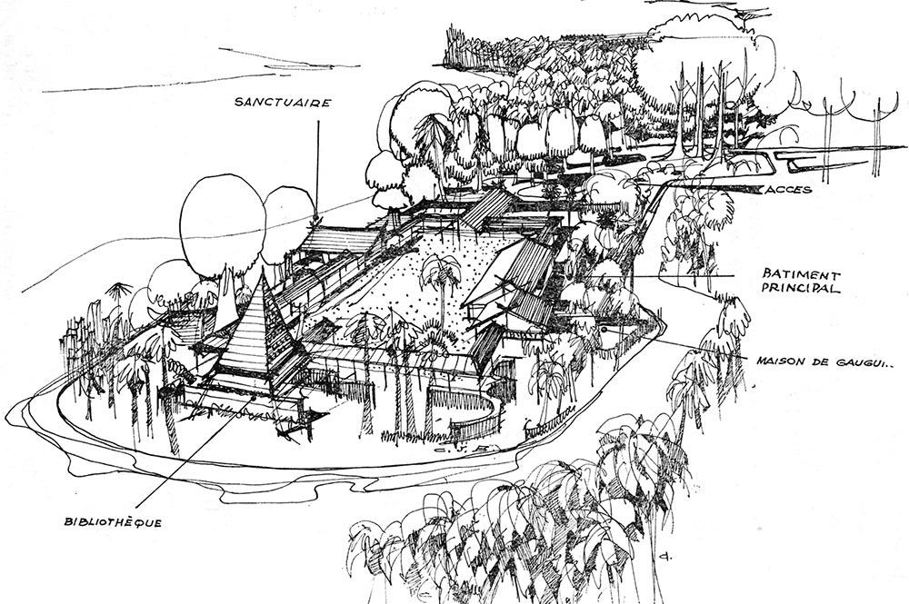 Croquis du projet de musée Gauguin
