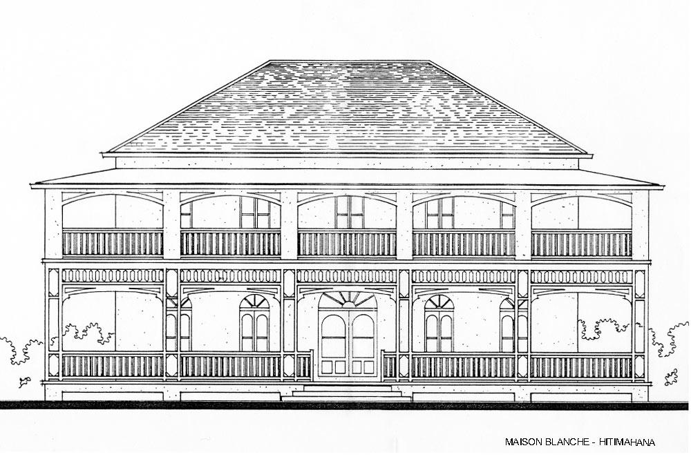 Façade de la maison blanche de Hitimahana, Mahina