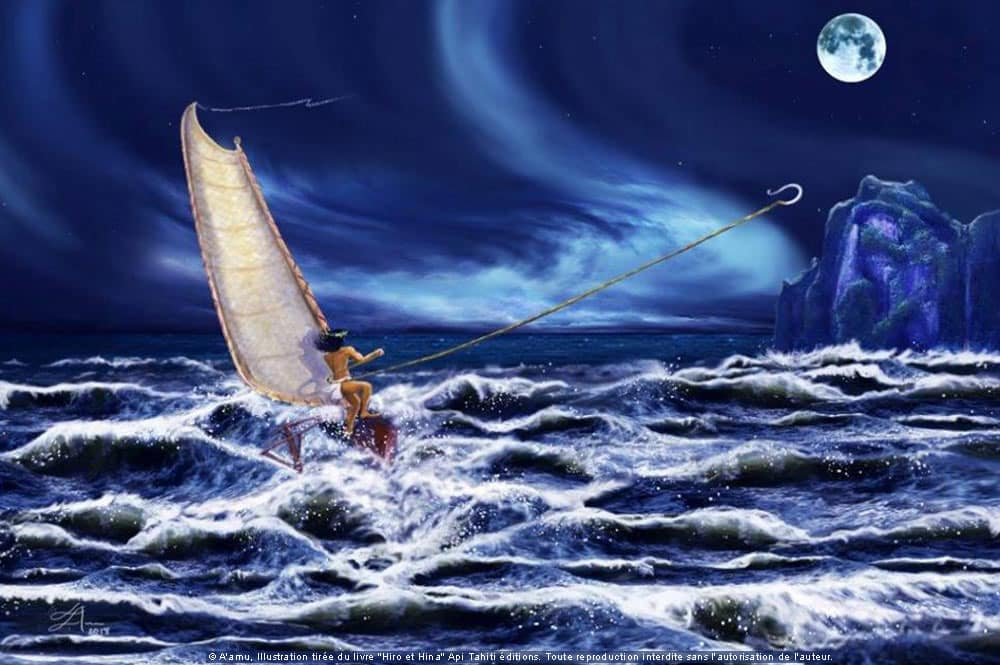 Hiro lance son hameçon pour attraper Huahine. Illustration A'amu